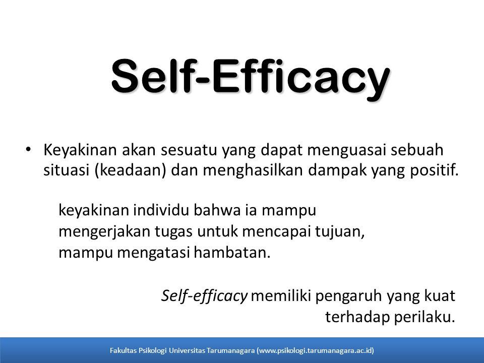 Self-Efficacy Keyakinan akan sesuatu yang dapat menguasai sebuah situasi (keadaan) dan menghasilkan dampak yang positif. keyakinan individu bahwa ia m