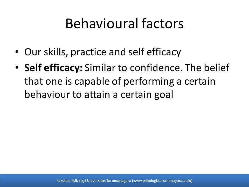 Self-Efficacy Keyakinan akan sesuatu yang dapat menguasai sebuah situasi (keadaan) dan menghasilkan dampak yang positif.