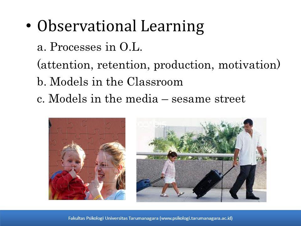 The Observational Learning Process: 4 Steps Step 1: Attentional Processes Sebelum murid-murid dapat memperlihatkan sebuah aksi model, mereka harus mengikuti apa yang model lakukan/katakan.