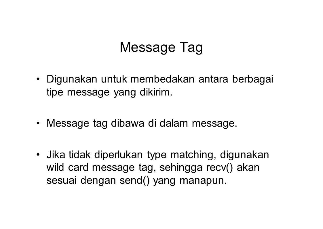 Message Tag Digunakan untuk membedakan antara berbagai tipe message yang dikirim. Message tag dibawa di dalam message. Jika tidak diperlukan type matc