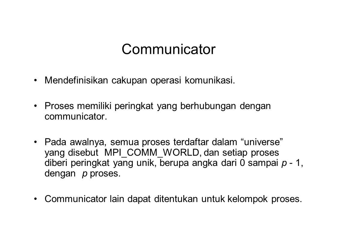Communicator Mendefinisikan cakupan operasi komunikasi. Proses memiliki peringkat yang berhubungan dengan communicator. Pada awalnya, semua proses ter