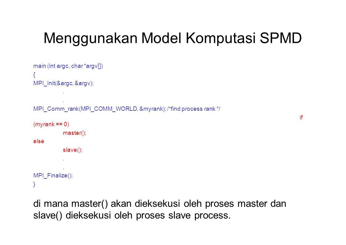 Menggunakan Model Komputasi SPMD main (int argc, char *argv[]) { MPI_Init(&argc, &argv);. MPI_Comm_rank(MPI_COMM_WORLD, &myrank); /*find process rank