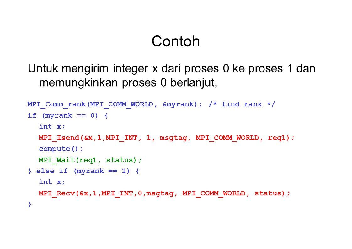 Contoh Untuk mengirim integer x dari proses 0 ke proses 1 dan memungkinkan proses 0 berlanjut, MPI_Comm_rank(MPI_COMM_WORLD, &myrank);/* find rank */ if (myrank == 0) { int x; MPI_Isend(&x,1,MPI_INT, 1, msgtag, MPI_COMM_WORLD, req1); compute(); MPI_Wait(req1, status); } else if (myrank == 1) { int x; MPI_Recv(&x,1,MPI_INT,0,msgtag, MPI_COMM_WORLD, status); }