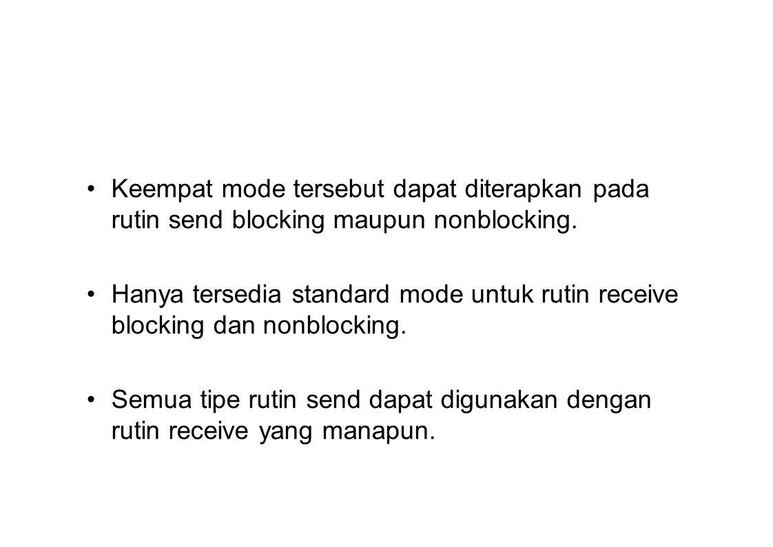 Keempat mode tersebut dapat diterapkan pada rutin send blocking maupun nonblocking. Hanya tersedia standard mode untuk rutin receive blocking dan nonb