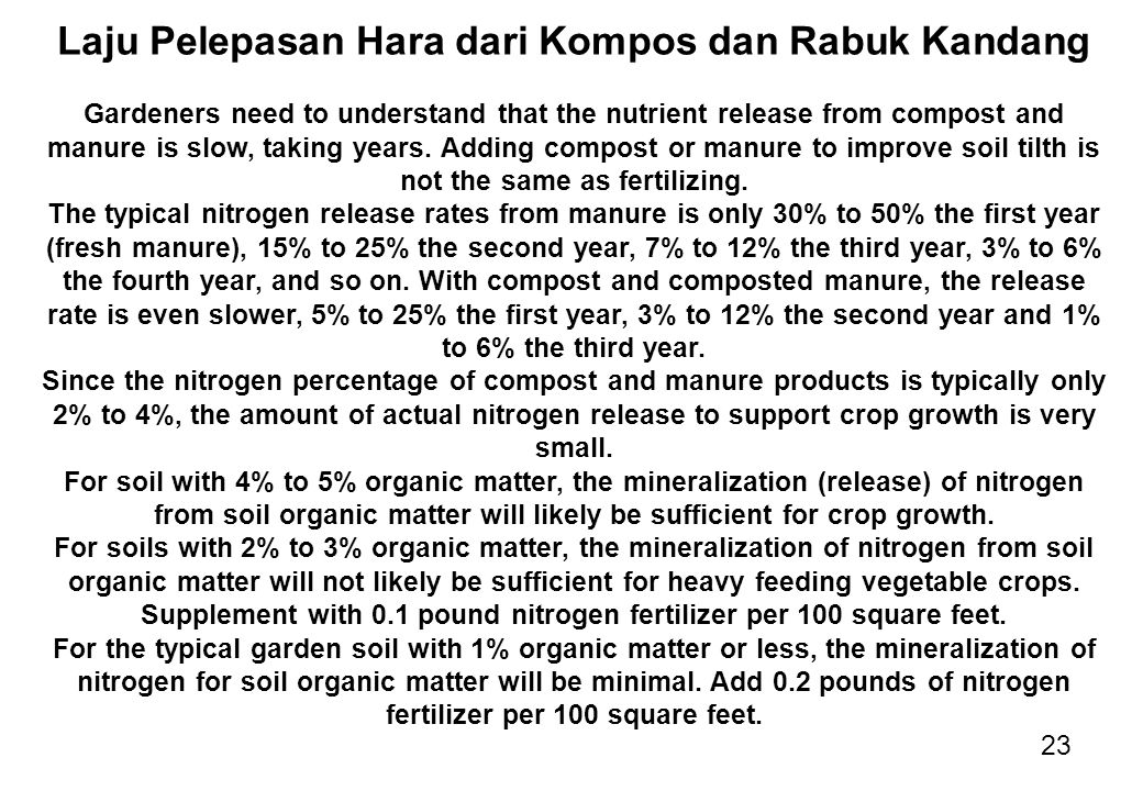 23 Laju Pelepasan Hara dari Kompos dan Rabuk Kandang Gardeners need to understand that the nutrient release from compost and manure is slow, taking ye