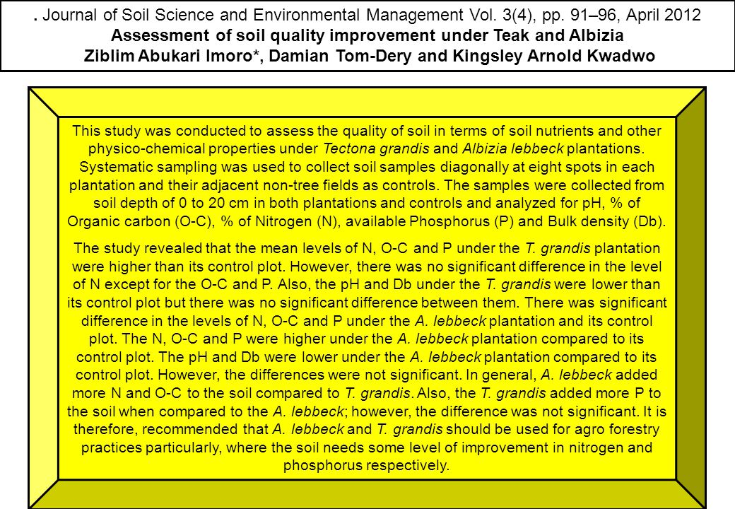 . Journal of Soil Science and Environmental Management Vol. 3(4), pp. 91–96, April 2012 Assessment of soil quality improvement under Teak and Albizia