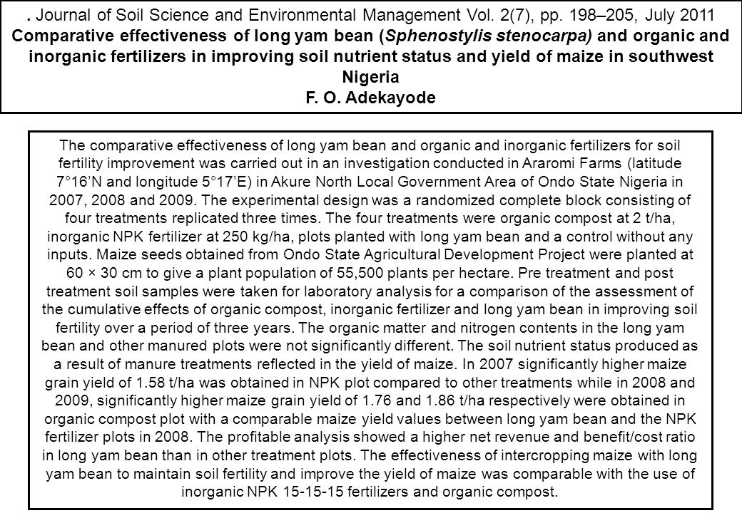 . Journal of Soil Science and Environmental Management Vol. 2(7), pp. 198–205, July 2011 Comparative effectiveness of long yam bean (Sphenostylis sten