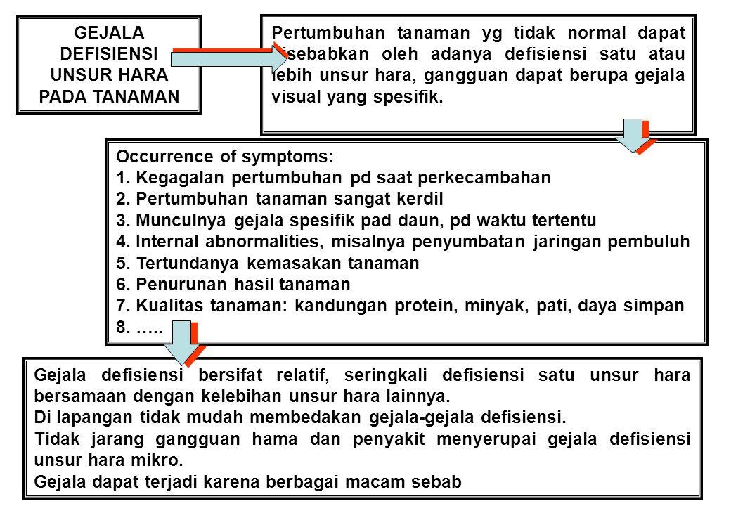 8 GEJALA DEFISIENSI UNSUR HARA PADA TANAMAN Pertumbuhan tanaman yg tidak normal dapat disebabkan oleh adanya defisiensi satu atau lebih unsur hara, gangguan dapat berupa gejala visual yang spesifik.
