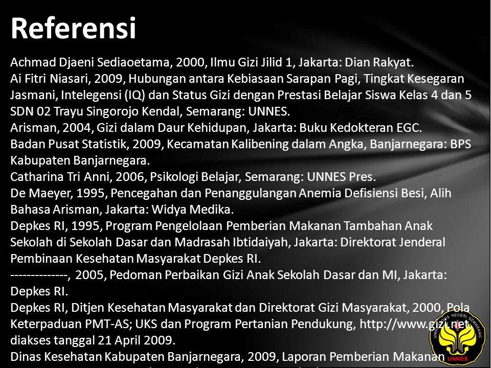 Referensi Achmad Djaeni Sediaoetama, 2000, Ilmu Gizi Jilid 1, Jakarta: Dian Rakyat.