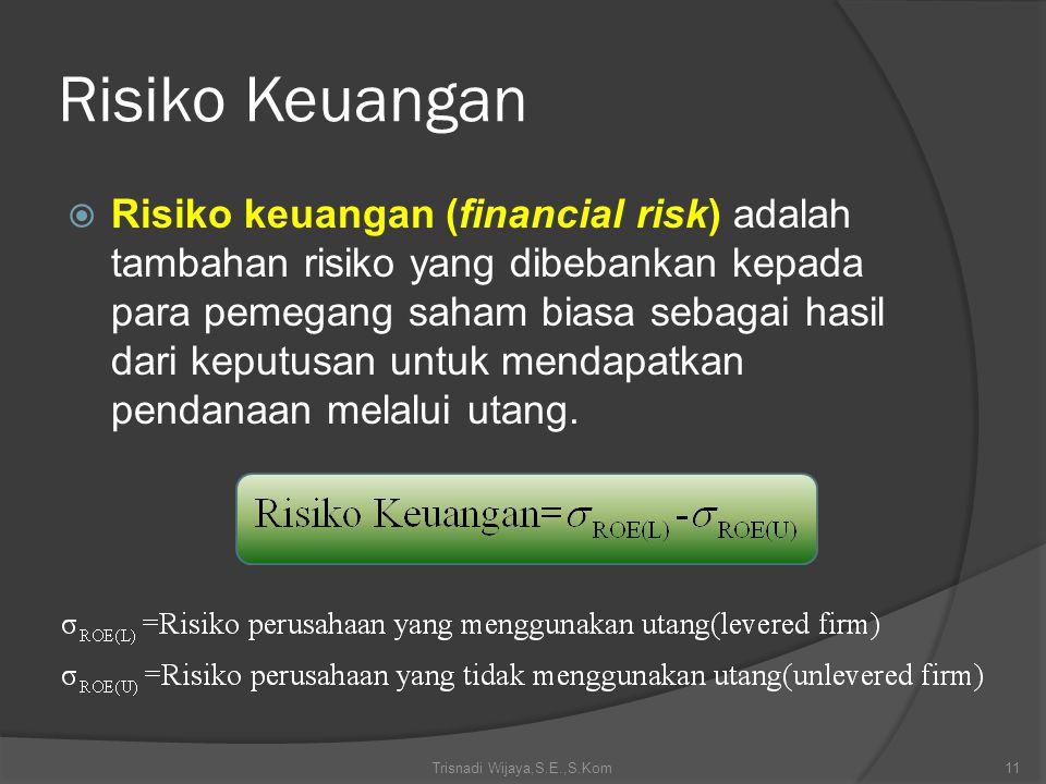 Risiko Keuangan  Risiko keuangan (financial risk) adalah tambahan risiko yang dibebankan kepada para pemegang saham biasa sebagai hasil dari keputusa