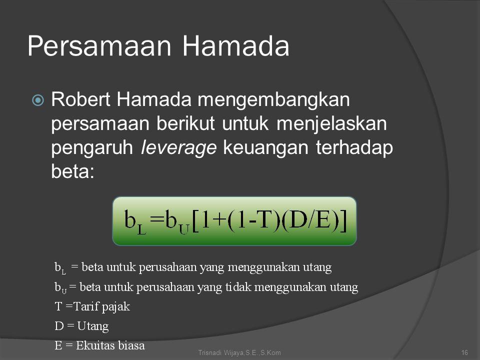 Persamaan Hamada  Robert Hamada mengembangkan persamaan berikut untuk menjelaskan pengaruh leverage keuangan terhadap beta: Trisnadi Wijaya,S.E.,S.Ko