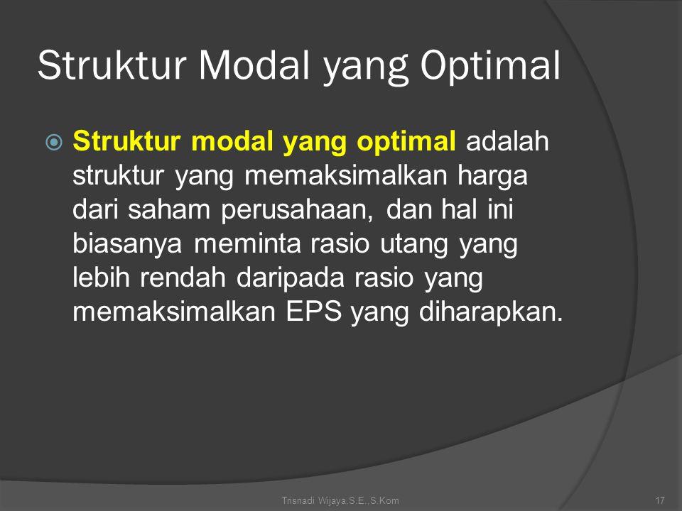 Struktur Modal yang Optimal  Struktur modal yang optimal adalah struktur yang memaksimalkan harga dari saham perusahaan, dan hal ini biasanya meminta