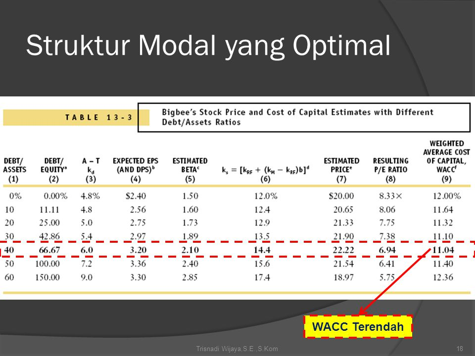 Trisnadi Wijaya,S.E.,S.Kom18 Struktur Modal yang Optimal WACC Terendah