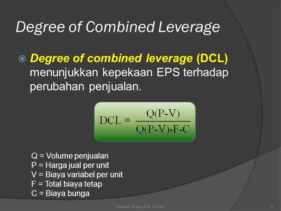 Degree of Combined Leverage  Degree of combined leverage (DCL) menunjukkan kepekaan EPS terhadap perubahan penjualan. Trisnadi Wijaya,S.E.,S.Kom21 Q