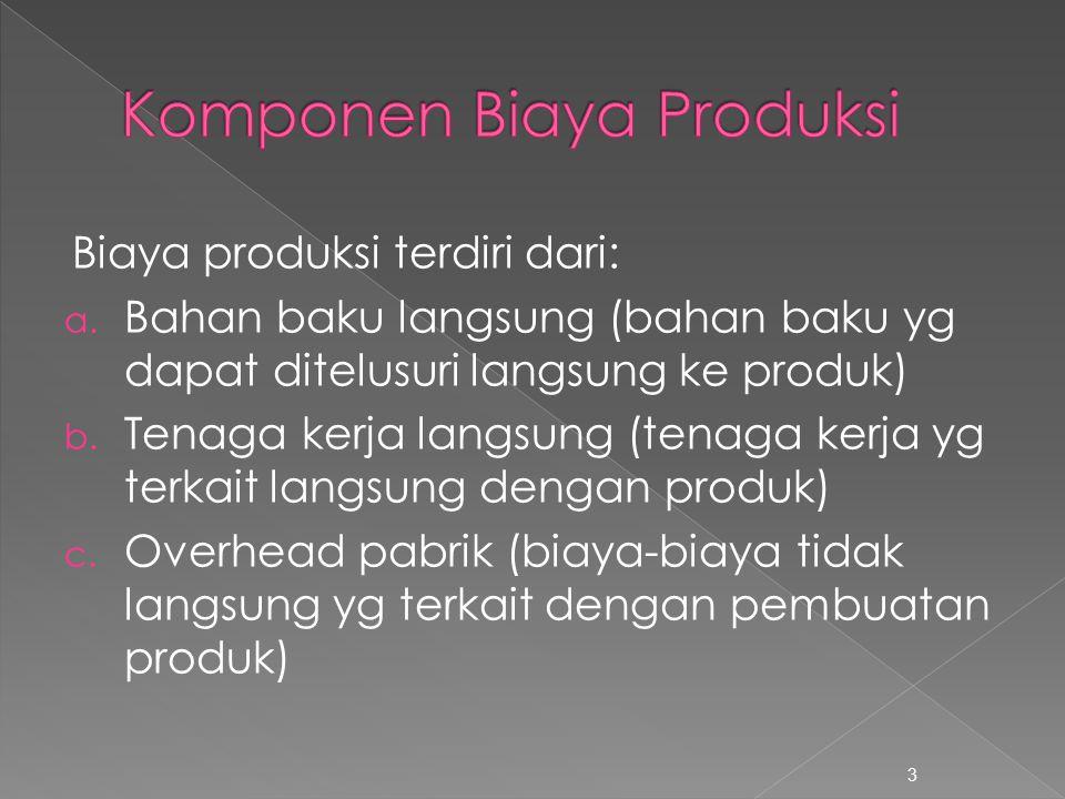 Biaya produksi terdiri dari: a. Bahan baku langsung (bahan baku yg dapat ditelusuri langsung ke produk) b. Tenaga kerja langsung (tenaga kerja yg terk