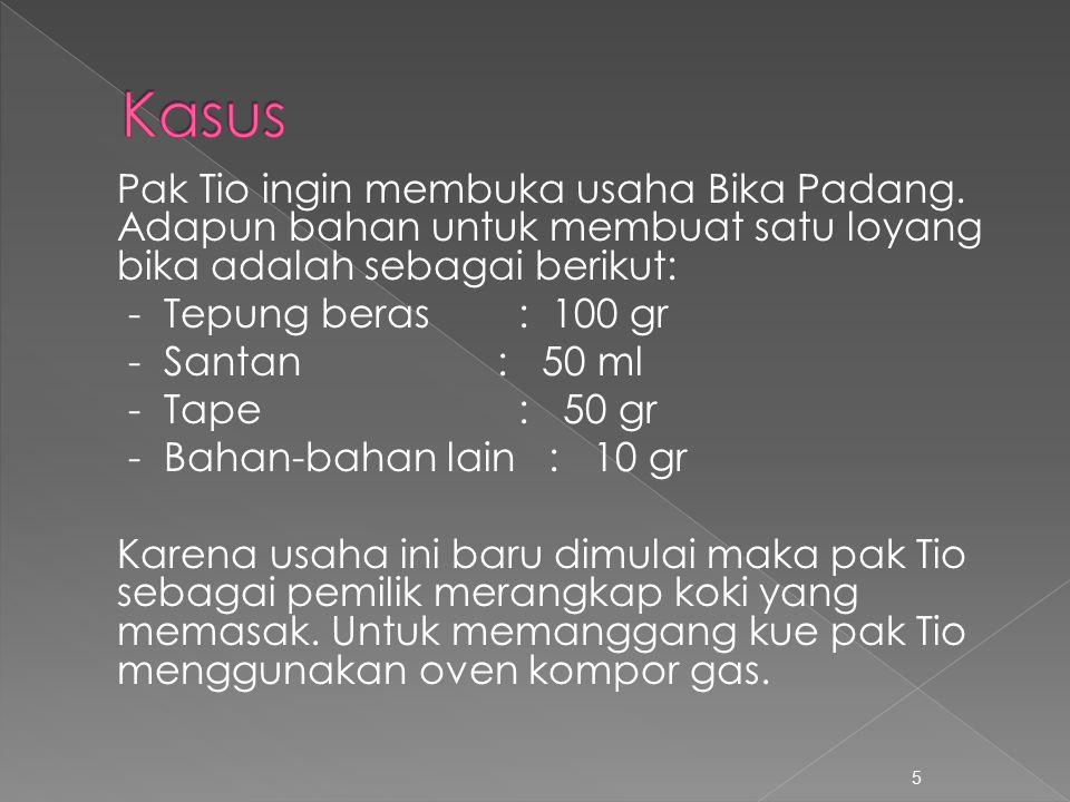 1.Sebutkan komponen biaya produksi kue Bika Padang.