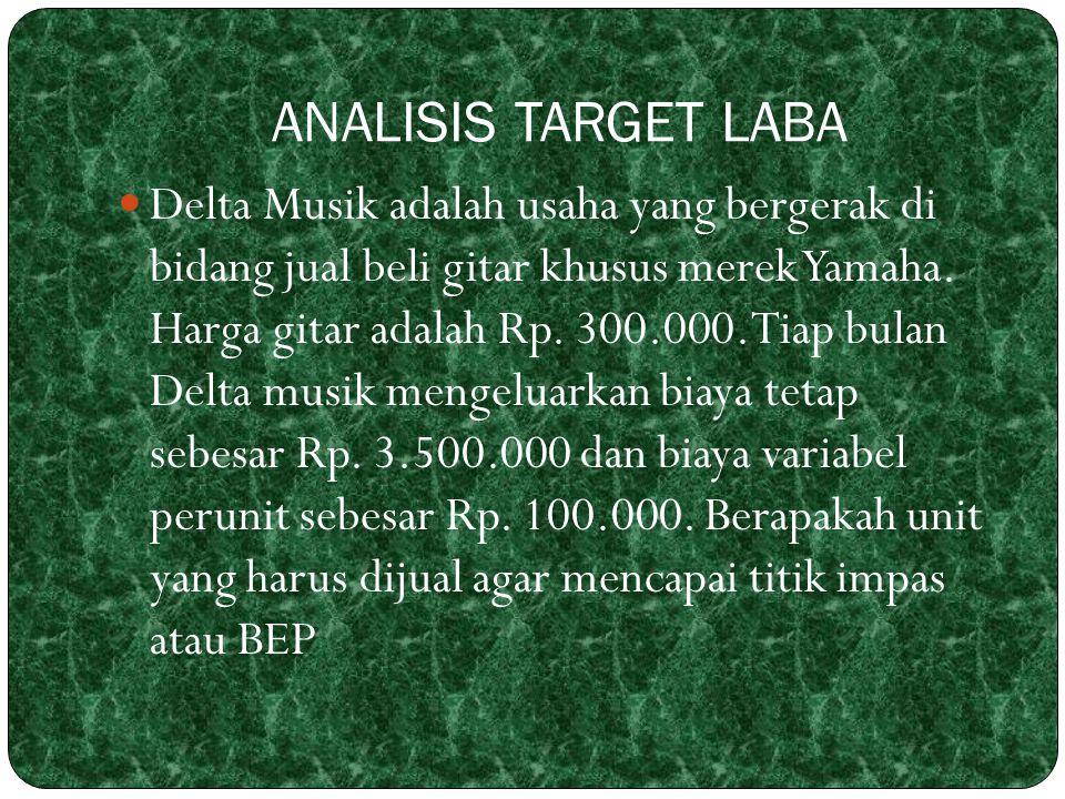ANALISIS TARGET LABA Delta Musik adalah usaha yang bergerak di bidang jual beli gitar khusus merek Yamaha. Harga gitar adalah Rp. 300.000. Tiap bulan
