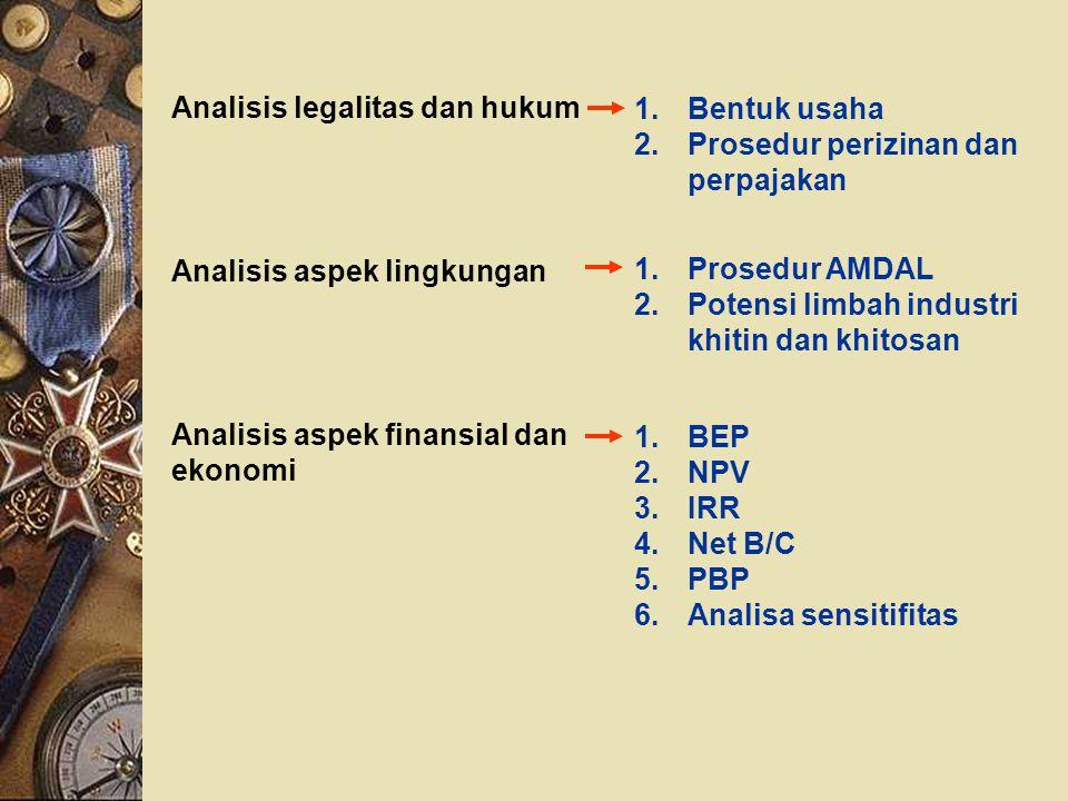 Analisis legalitas dan hukum 1.Bentuk usaha 2.Prosedur perizinan dan perpajakan Analisis aspek lingkungan 1.Prosedur AMDAL 2.Potensi limbah industri k