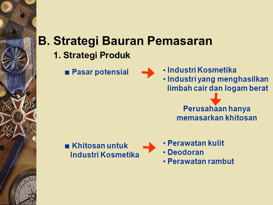 B. Strategi Bauran Pemasaran 1. Strategi Produk Perusahaan hanya memasarkan khitosan ∎ Pasar potensial Industri Kosmetika Industri yang menghasilkan l