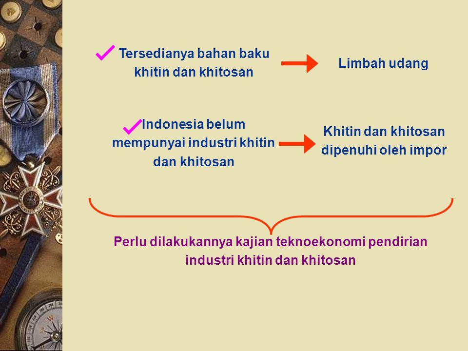 Tersedianya bahan baku khitin dan khitosan Limbah udang Indonesia belum mempunyai industri khitin dan khitosan Khitin dan khitosan dipenuhi oleh impor