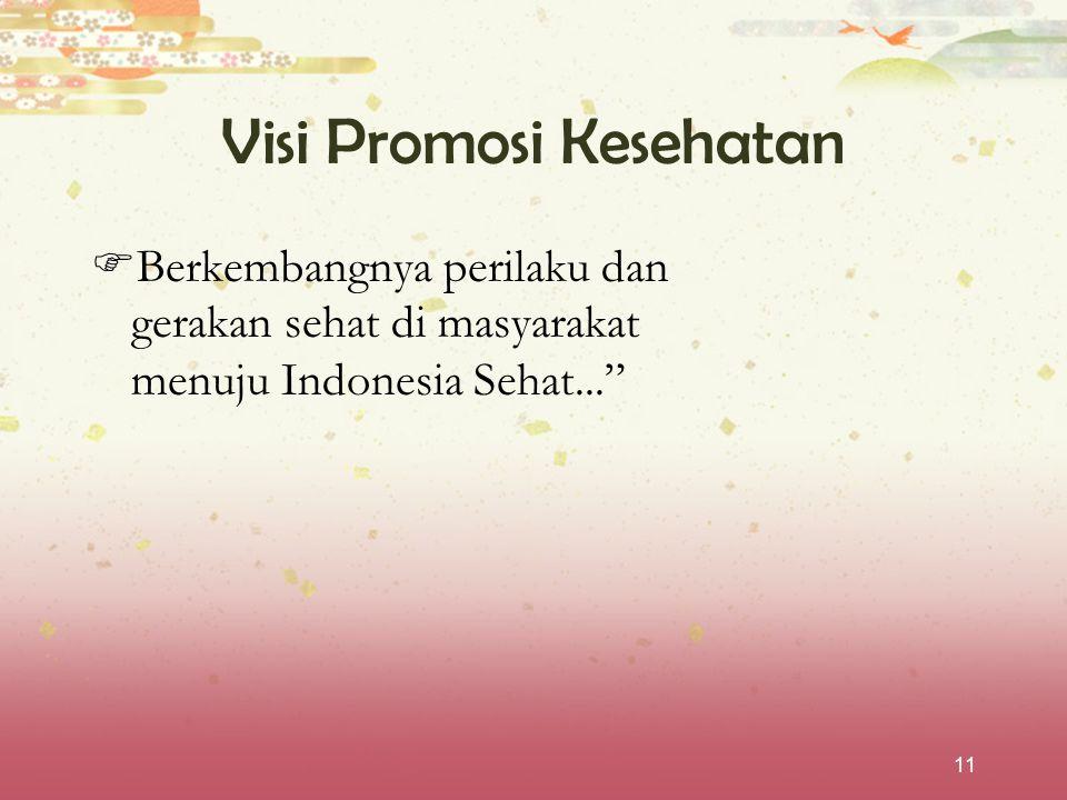 """11 Visi Promosi Kesehatan  Berkembangnya perilaku dan gerakan sehat di masyarakat menuju Indonesia Sehat..."""""""