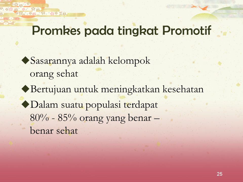 25 Promkes pada tingkat Promotif  Sasarannya adalah kelompok orang sehat  Bertujuan untuk meningkatkan kesehatan  Dalam suatu populasi terdapat 80%