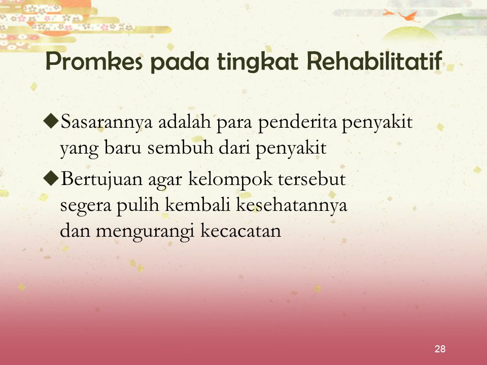 28 Promkes pada tingkat Rehabilitatif  Sasarannya adalah para penderita penyakit yang baru sembuh dari penyakit  Bertujuan agar kelompok tersebut se