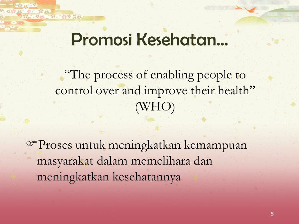 """5 Promosi Kesehatan… """"The process of enabling people to control over and improve their health"""" (WHO)  Proses untuk meningkatkan kemampuan masyarakat"""