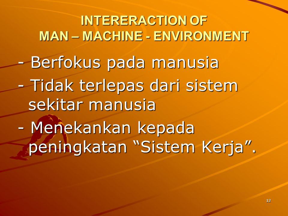"12 INTERERACTION OF MAN – MACHINE - ENVIRONMENT - Berfokus pada manusia - Tidak terlepas dari sistem sekitar manusia - Menekankan kepada peningkatan """