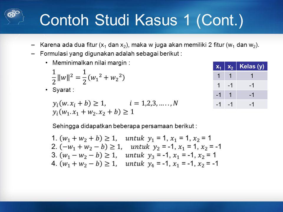 Contoh Studi Kasus 1 (Cont.) –Karena ada dua fitur (x 1 dan x 2 ), maka w juga akan memiliki 2 fitur (w 1 dan w 2 ). –Formulasi yang digunakan adalah