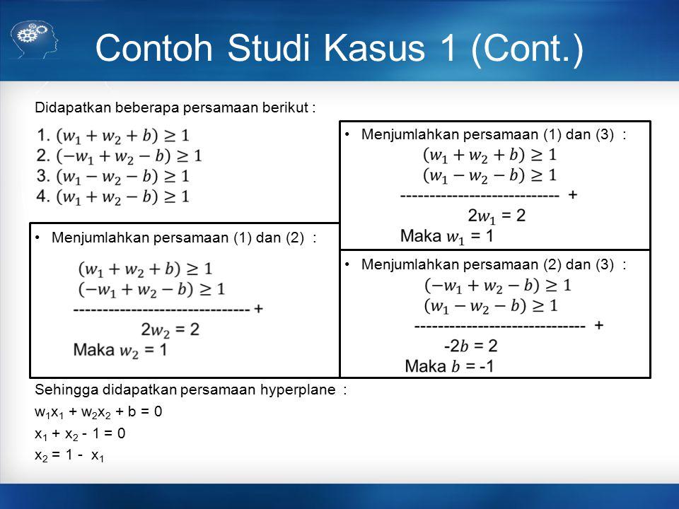 Contoh Studi Kasus 1 (Cont.) Didapatkan beberapa persamaan berikut : Menjumlahkan persamaan (1) dan (2) : Sehingga didapatkan persamaan hyperplane : w