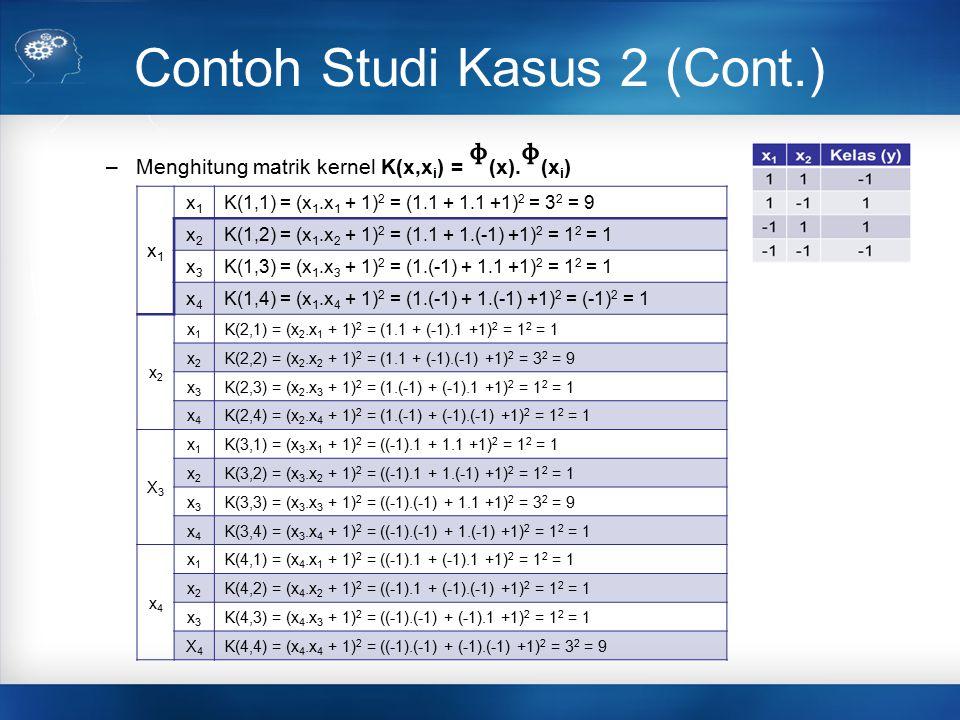 Contoh Studi Kasus 2 (Cont.) –Menghitung matrik kernel K(x,x i ) = (x).(x i ) x1x1 x1x1 K(1,1) = (x 1.x 1 + 1) 2 = (1.1 + 1.1 +1) 2 = 3 2 = 9 x2x2 K(1
