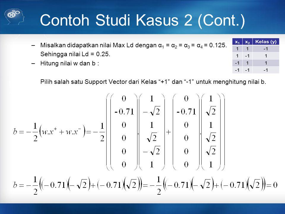 Contoh Studi Kasus 2 (Cont.) –Misalkan didapatkan nilai Max Ld dengan α 1 = α 2 = α 3 = α 4 = 0.125. Sehingga nilai Ld = 0.25. –Hitung nilai w dan b :