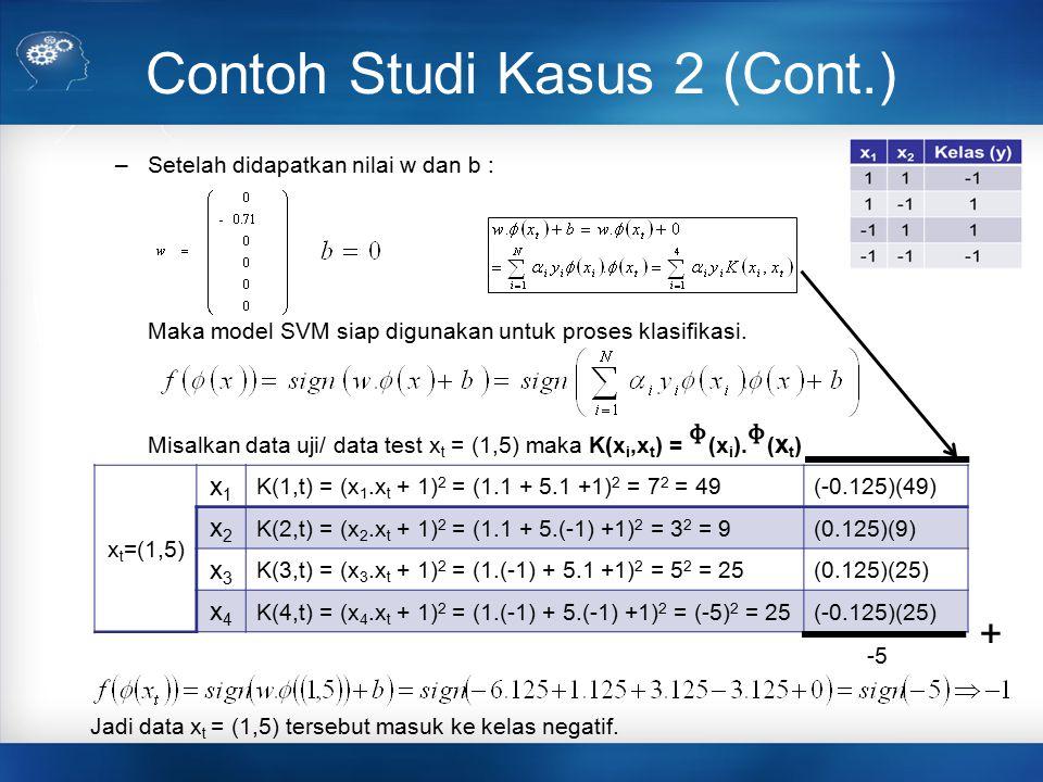 Contoh Studi Kasus 2 (Cont.) –Setelah didapatkan nilai w dan b : Maka model SVM siap digunakan untuk proses klasifikasi. Misalkan data uji/ data test