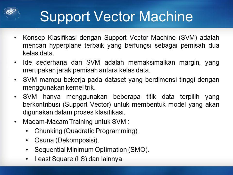 Support Vector Machine Konsep Klasifikasi dengan Support Vector Machine (SVM) adalah mencari hyperplane terbaik yang berfungsi sebagai pemisah dua kel