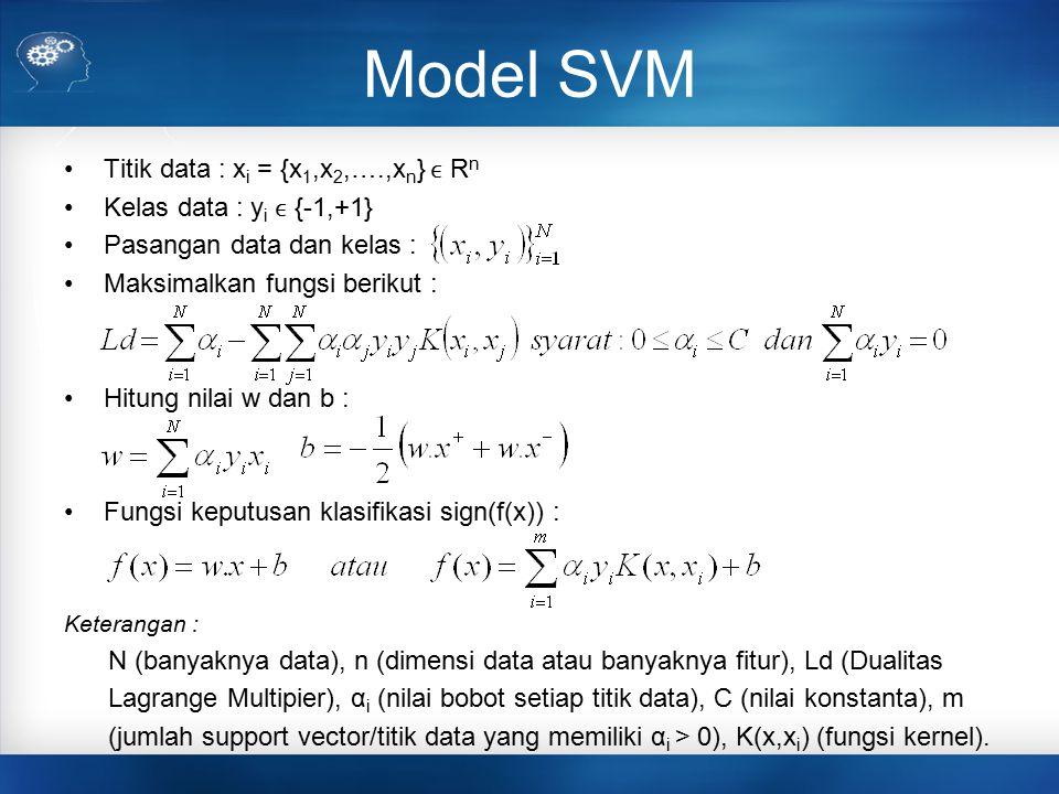 Model SVM Titik data : x i = {x 1,x 2,….,x n } R n Kelas data : y i {-1,+1} Pasangan data dan kelas : Maksimalkan fungsi berikut : Hitung nilai w dan