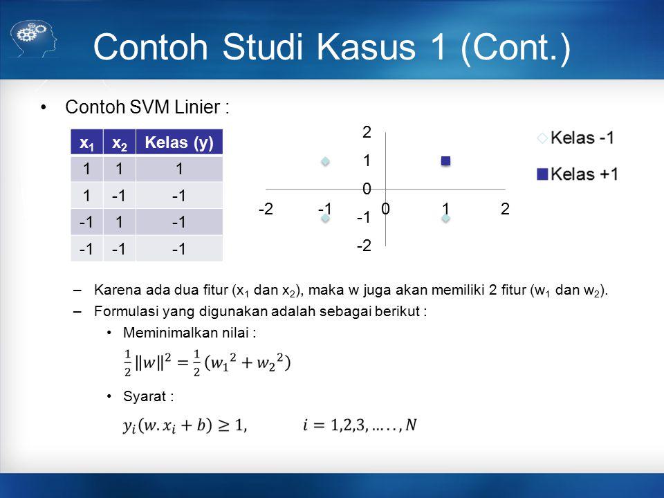 Contoh Studi Kasus 1 (Cont.) Contoh SVM Linier : –Karena ada dua fitur (x 1 dan x 2 ), maka w juga akan memiliki 2 fitur (w 1 dan w 2 ). –Formulasi ya