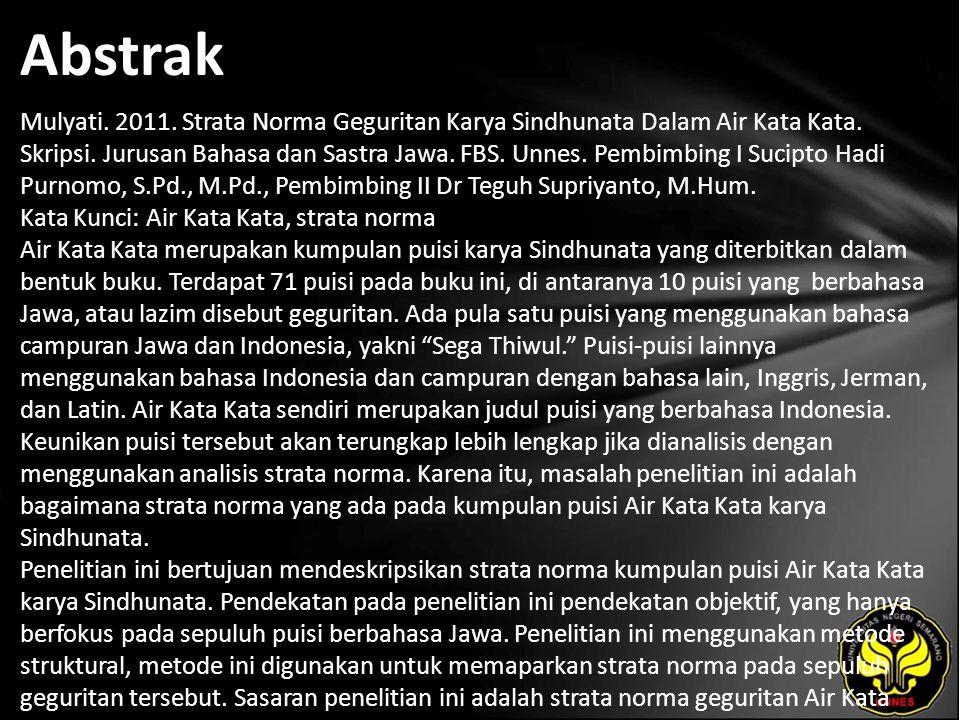 Abstrak Mulyati. 2011. Strata Norma Geguritan Karya Sindhunata Dalam Air Kata Kata.