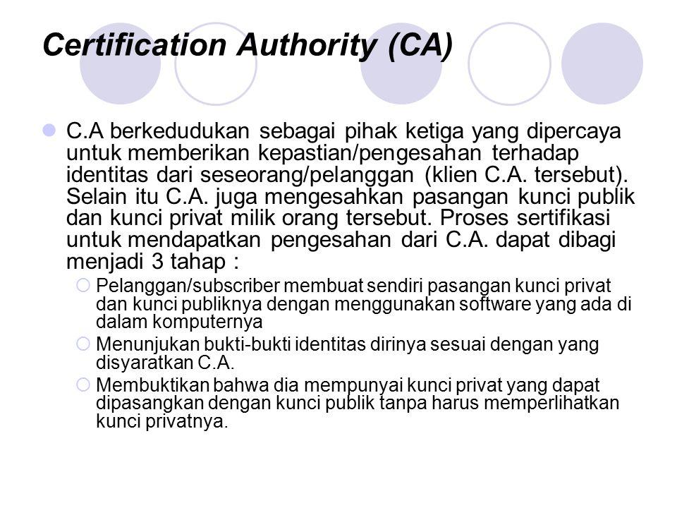 Certification Authority (CA) C.A berkedudukan sebagai pihak ketiga yang dipercaya untuk memberikan kepastian/pengesahan terhadap identitas dari seseor