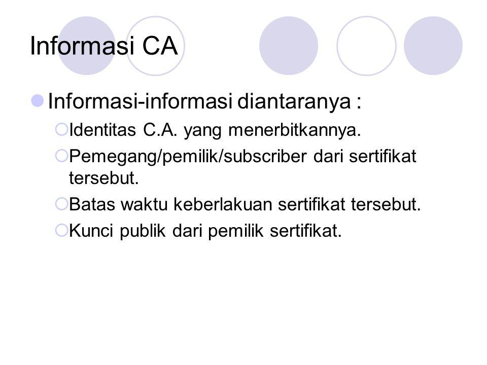 Informasi CA Informasi-informasi diantaranya :  Identitas C.A. yang menerbitkannya.  Pemegang/pemilik/subscriber dari sertifikat tersebut.  Batas w