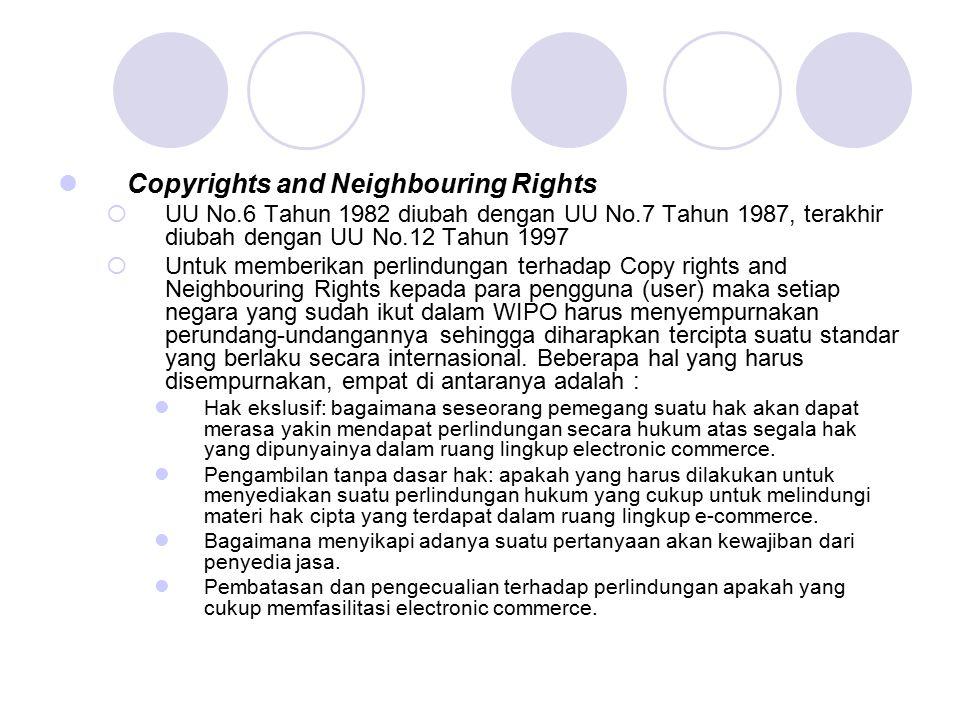 Copyrights and Neighbouring Rights  UU No.6 Tahun 1982 diubah dengan UU No.7 Tahun 1987, terakhir diubah dengan UU No.12 Tahun 1997  Untuk memberika