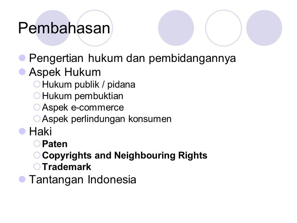 Pembahasan Pengertian hukum dan pembidangannya Aspek Hukum  Hukum publik / pidana  Hukum pembuktian  Aspek e-commerce  Aspek perlindungan konsumen Haki  Paten  Copyrights and Neighbouring Rights  Trademark Tantangan Indonesia