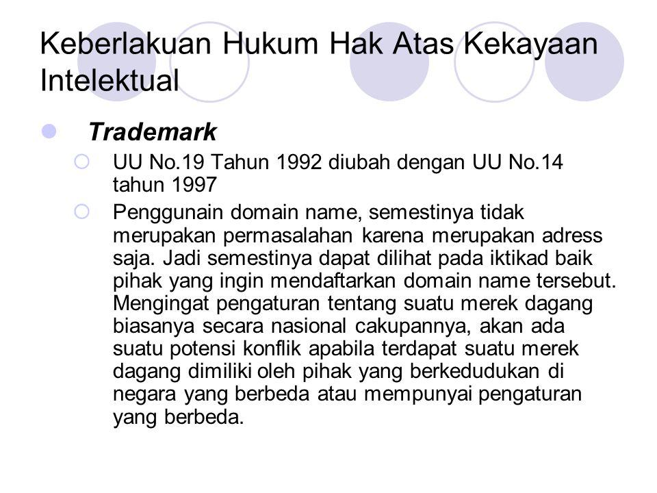 Keberlakuan Hukum Hak Atas Kekayaan Intelektual Trademark  UU No.19 Tahun 1992 diubah dengan UU No.14 tahun 1997  Penggunain domain name, semestinya