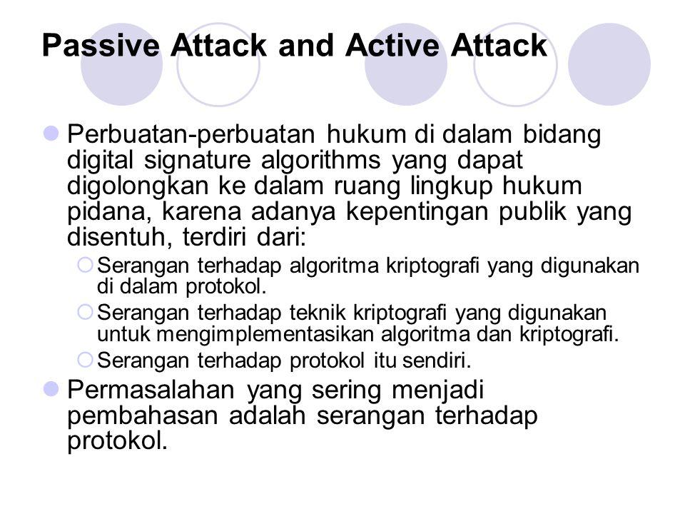 Passive Attack and Active Attack Perbuatan-perbuatan hukum di dalam bidang digital signature algorithms yang dapat digolongkan ke dalam ruang lingkup hukum pidana, karena adanya kepentingan publik yang disentuh, terdiri dari:  Serangan terhadap algoritma kriptografi yang digunakan di dalam protokol.