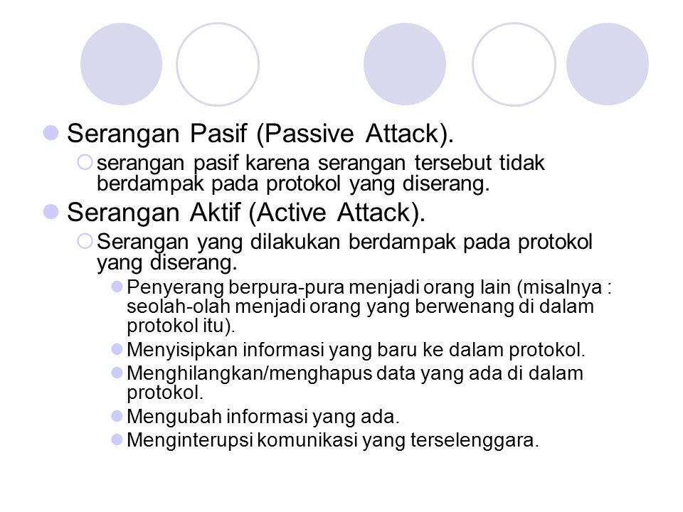 Serangan Pasif (Passive Attack).  serangan pasif karena serangan tersebut tidak berdampak pada protokol yang diserang. Serangan Aktif (Active Attack)