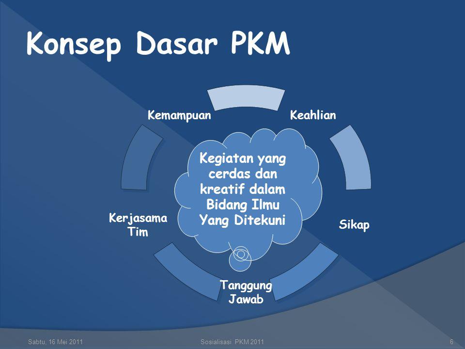 Judul PKM  Judul dibuat ringkas, tetapi jelas dan menunjukkan dengan tepat masalah yang hendak dipecahkan, dan tidak membuka peluang penafsiran yang beraneka ragam  Ada kreativitas baru dan original terhadap masalah yang akan dipecahkan (modifikasi, penyempurnaan, pengembangan dan invensi) Sabtu, 16 Mei 2011Sosialisasi PKM 201126