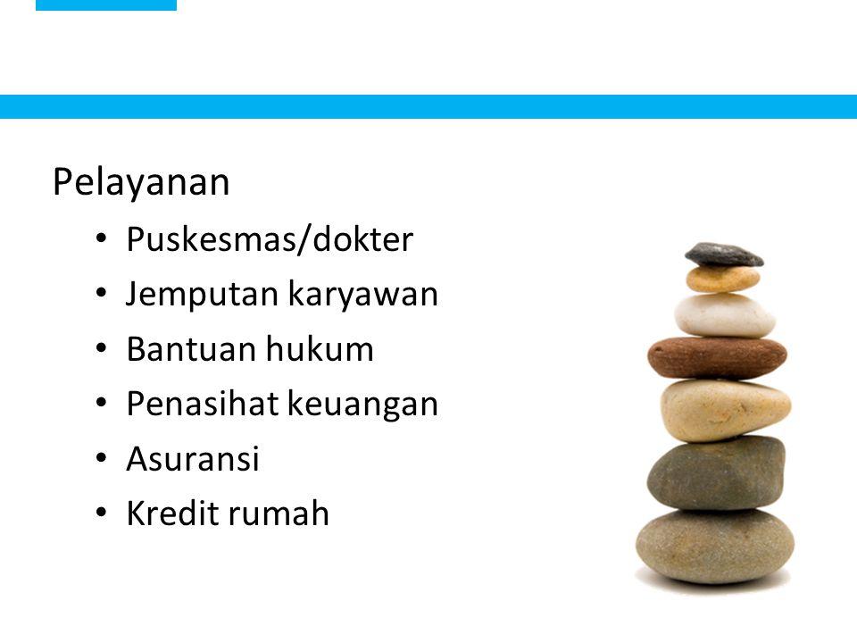 15 Pelayanan Puskesmas/dokter Jemputan karyawan Bantuan hukum Penasihat keuangan Asuransi Kredit rumah