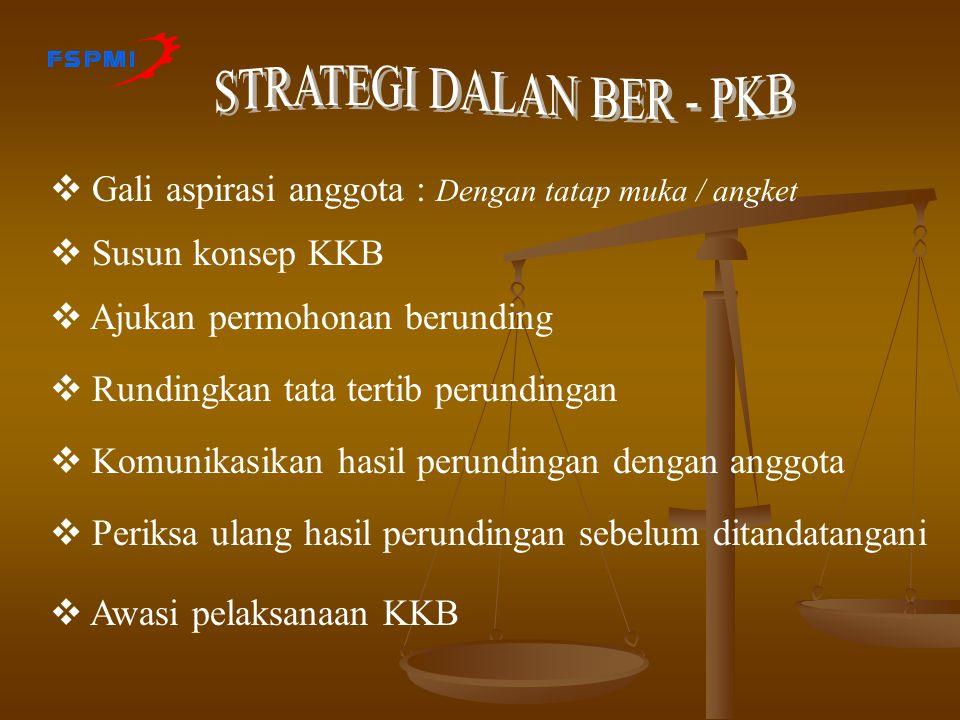  Adakan rapat PUK / Organisasi Tentukan Sikap : Membuat, Perpanjang, Perbaharui  Cari / pelajari informasi tentang KKB * Peraturan Perundangan * KKB