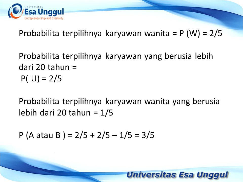 Probabilita terpilihnya karyawan wanita = P (W) = 2/5 Probabilita terpilihnya karyawan yang berusia lebih dari 20 tahun = P( U) = 2/5 Probabilita terpilihnya karyawan wanita yang berusia lebih dari 20 tahun = 1/5 P (A atau B ) = 2/5 + 2/5 – 1/5 = 3/5
