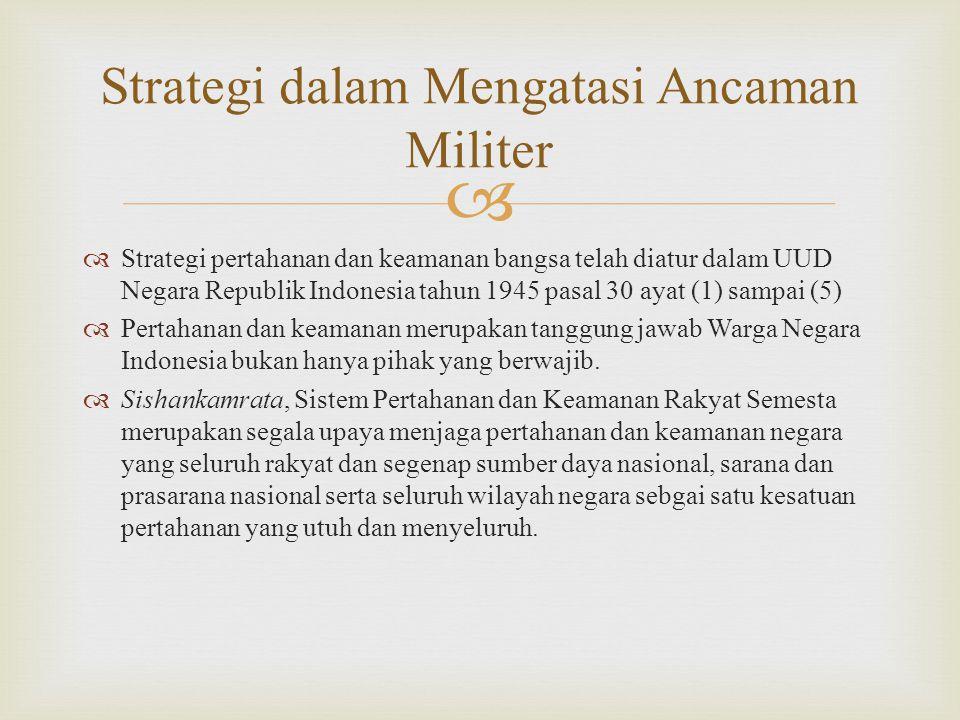   Strategi pertahanan dan keamanan bangsa telah diatur dalam UUD Negara Republik Indonesia tahun 1945 pasal 30 ayat (1) sampai (5)  Pertahanan dan keamanan merupakan tanggung jawab Warga Negara Indonesia bukan hanya pihak yang berwajib.